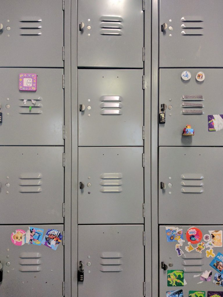 Lockers in a school in a post talking about the TV show sex education